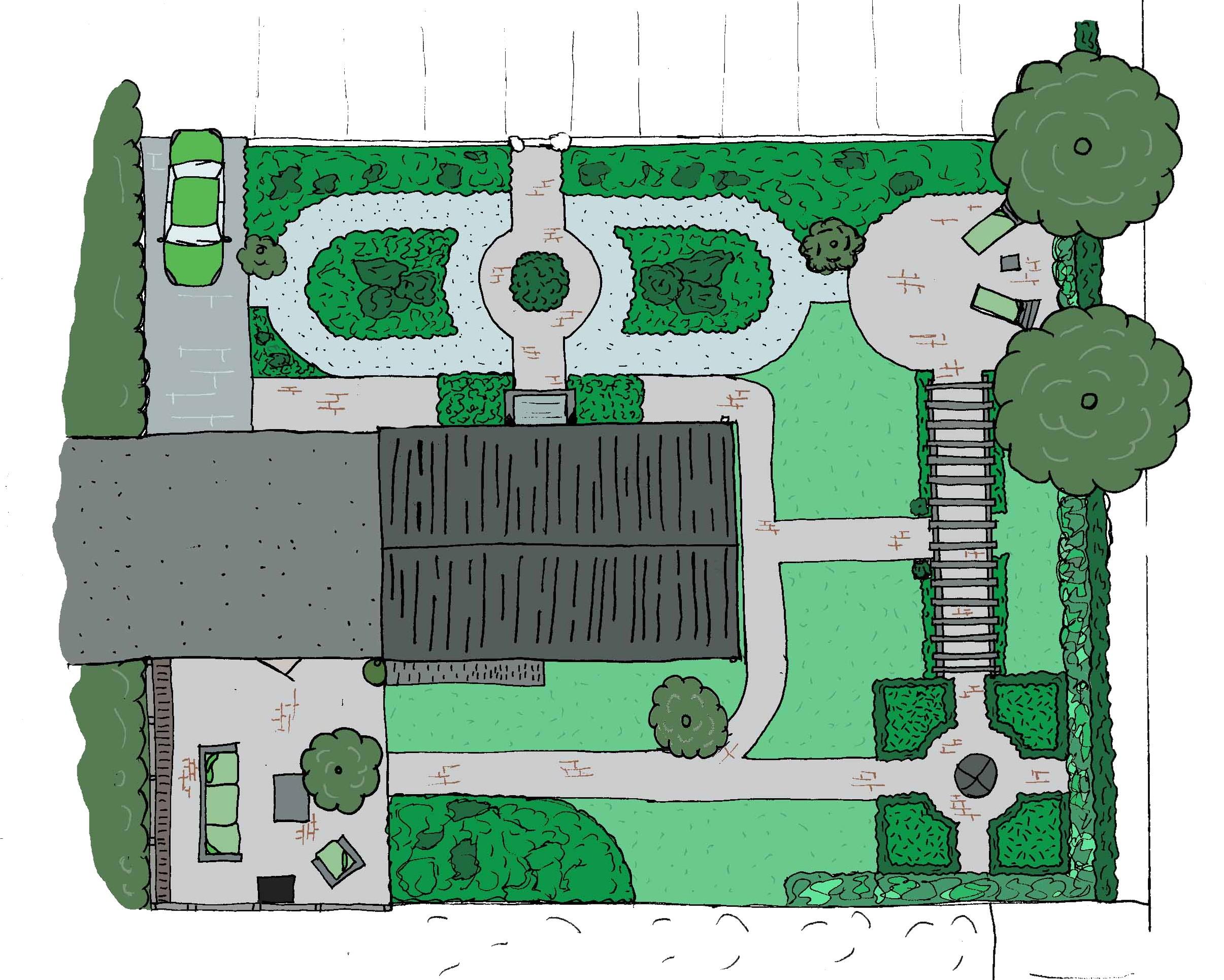 Schets tekening maken perfect visuele strategie for Plattegrond tuin maken